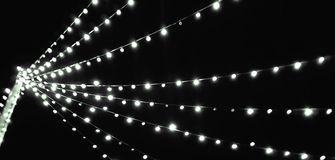 Vintage party outdoor bulb garlands royalty free stock images