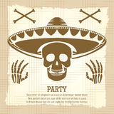 Vintage party poster with skull Stock Images