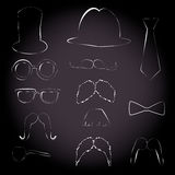 Vintage party set with mustaches Stock Images
