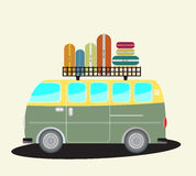 Vintage Passenger van car with bag on roof Royalty Free Stock Photography