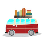 Vintage Passenger van car with bag on roof Stock Images
