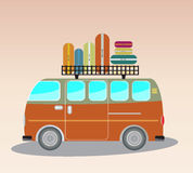 Vintage Passenger van car with bag on roof Royalty Free Stock Photo