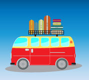 Vintage Passenger van car with bag on roof Stock Photos