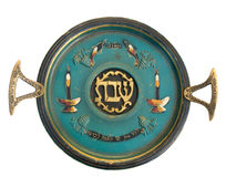 Vintage Passover Sabbath Seder Plate. Isolated on white Stock Photos
