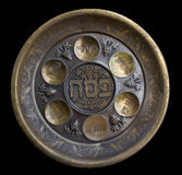 Vintage Passover Seder Plate. On black background Stock Photos