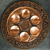 Vintage Passover Seder Plate on dark background. Stock Photography