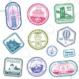 Vintage passport travel vector stamps with international symbols and famous trademark. Travel arrival stamp for passport, international national border Royalty Free Stock Images