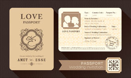 Vintage Passport Wedding Invitation Royalty Free Stock Photography