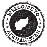 Vintage passport welcome stamp with Afghanistan. Stock Photos