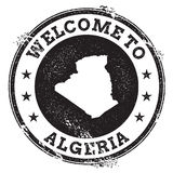 Vintage passport welcome stamp with Algeria map. Royalty Free Stock Images