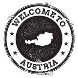Vintage passport welcome stamp with Austria map. Grunge rubber stamp with Welcome to Austria text, vector illustration Stock Image