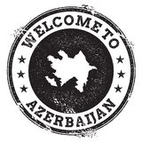 Vintage passport welcome stamp with Azerbaijan. Stock Photos
