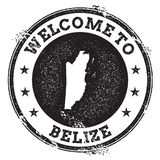 Vintage passport welcome stamp with Belize map. Stock Photos