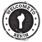 Vintage passport welcome stamp with Benin map. Stock Image