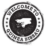 Vintage passport welcome stamp with Guinea-Bissau. Stock Image