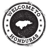 Vintage passport welcome stamp with Honduras map. Grunge rubber stamp with Welcome to Honduras text, vector illustration Royalty Free Stock Images