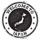 Vintage passport welcome stamp with Japan map. stock illustration