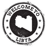 Vintage passport welcome stamp with Libya map. Royalty Free Stock Image