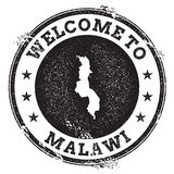 Vintage passport welcome stamp with Malawi map. Royalty Free Stock Image
