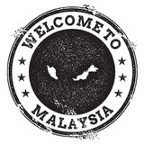 Vintage passport welcome stamp with Malaysia map. Grunge rubber stamp with Welcome to Malaysia text, vector illustration royalty free illustration