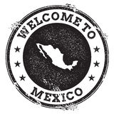Vintage passport welcome stamp with Mexico map. Grunge rubber stamp with Welcome to Mexico text, vector illustration Royalty Free Stock Photo