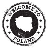 Vintage passport welcome stamp with Poland map. Grunge rubber stamp with Welcome to Poland text, vector illustration stock image