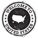 Vintage passport welcome stamp with United States. Royalty Free Stock Photo