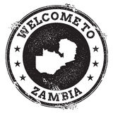 Vintage passport welcome stamp with Zambia map. Stock Images