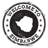 Vintage passport welcome stamp with Zimbabwe map. Grunge rubber stamp with Welcome to Zimbabwe text, vector illustration Royalty Free Stock Images