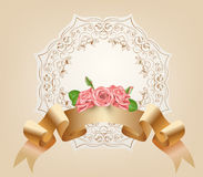 Vintage, pastel, decorative ribbon with flowers, pink roses.Vector. Parchment and papyrus scroll on the ornamental. Background.Romantic banner for Badges Stock Photo