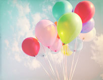 Vintage pastel of multicolored balloons stock photography