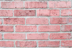 Vintage pastel pink color brick wall horizontal. Background for design. Royalty Free Stock Photo
