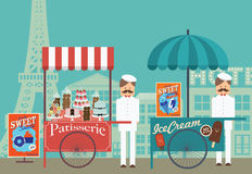 Vintage pastry and ice cream vendor in paris /illustration. Illustration/ of vintage patisserie and ice cream vendor in beautiful paris with eiffel tower as the Royalty Free Stock Images