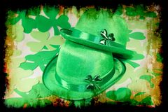 Vintage Patrick decoration. Background with clover and irish hat royalty free stock photography