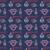 Vintage Pattern with Birds and Keys. Vintage graphic pattern of doves delivering love letters, hearts with wings, perfume bottles and skeleton keys Royalty Free Stock Image