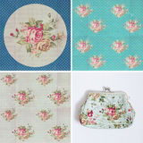 Vintage pattern with blue flowers Stock Image