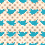 Vintage pattern with blue little birds on a Stock Photo