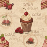 Vintage pattern with cake illustrations Royalty Free Stock Image
