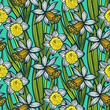 Vintage pattern with daffodils or narcissus. Royalty Free Stock Photos