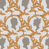 Vintage pattern with humans silhouettes Stock Image