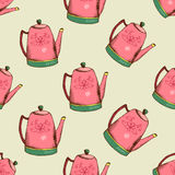 Vintage pattern with kettle Royalty Free Stock Photography