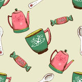 Vintage pattern with kettle, cup and candy Stock Photos