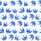 vintage pattern with little swallows, seamless pattern with bird Stock Image