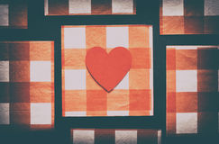 Vintage Pattern or Love: Heart on Checkered Pattern Royalty Free Stock Image