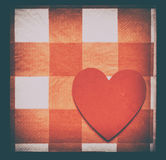 Vintage Pattern or Love: Heart on Checkered Pattern Stock Photography