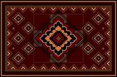 Pattern of a luxury old oriental carpet with red,orange, black and beige patterns on burgundy background. Vintage pattern of a luxury old oriental carpet with stock illustration