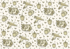 Vintage pattern with mushrooms. Garlic, tomatoes and peppers on a very light yellow background. Can be used as template. EPS 10.0. RGB. This illustration can Stock Photography