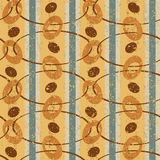 Vintage Pattern with Ovals. Abstract seamless vector pattern. Brown ovals and stripes Royalty Free Stock Photo