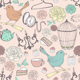 Vintage pattern in pastel colors with different old items. Vector hand drawn texture Royalty Free Stock Photography