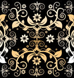 Vintage pattern. Seamless vintage wallpaper pattern with black colour background Stock Photo